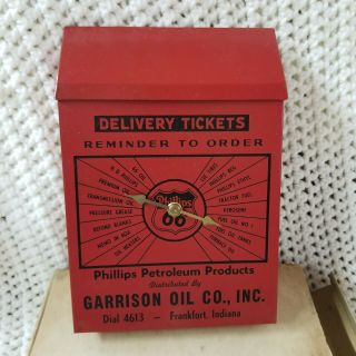 Phillips 66 Delivery Ticket Box Gas Station Oil Metal Vtg Advertisement