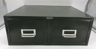 """Vintage Cole Steel Two Drawer Index Card Stackable Metal File Cabinet 19"""" X 16"""""""