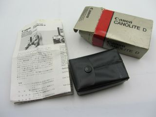 Vintage Canon Canolite D Shoe Mount Flash,  Case And Instructions