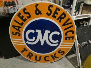 Porcelain Gmc Sales And Service Double Sided Dealer Sign 42 Inches