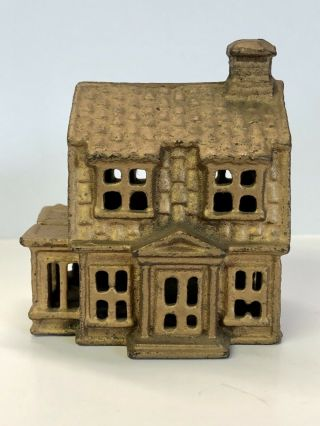 Antique Early Cast Iron House Or Cabin Still Coin Bank Vintage Figural