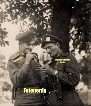 Wwii Soviet Photo Tank Forces Officers Smoking Goggles Camera Moscow Defense A1