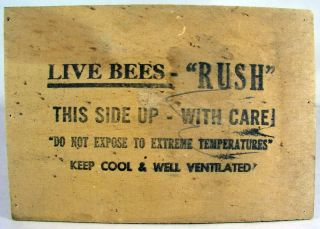 "Vintage "" Live Bees "" Wooden Box Top Advertising Farm Farmers Sign"