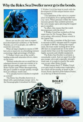 1970s Rolex Sea Dweller Double Red Diving Watch Diver Photo Ad Poster 24x35