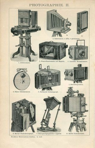 1895 Old Photo Cameras Photography Antique Engraving Print