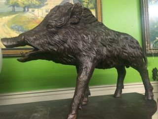 Awesome Bronze Life Size Wild Boar Signed By The Artist On His Hoof 17 Tall 27