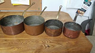 Set 4x Antique French Hammered Copper Nesting Sauce Pans Rustic Hanging Pots
