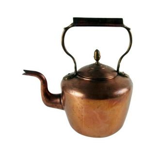 Antique English Copper Tea Kettle Dovetailed 1880s William Soutter & Sons