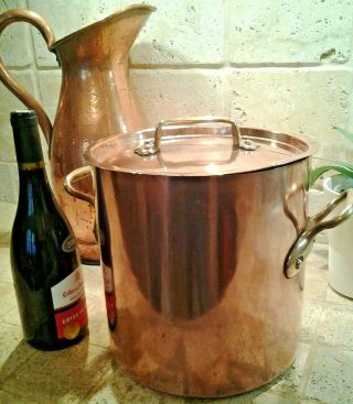 Antique Hammered Copper Stockpot Artisan Made 9.  5 Inch 11 Quart Needs Tin