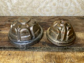 Antique Vintage Copper And Tin Jelly Molds French Country Kitchen Decor