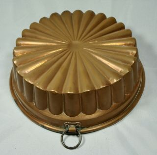 Antique Round Copper Cake Or Jelly Mold,  Tin Lined