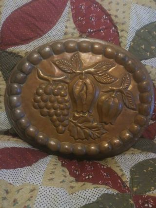 Antique Copper Mold Tin Lined Fruit,  Grapes,  Lanterns,  And Leaves.  Oval 13 - 1/2 ""