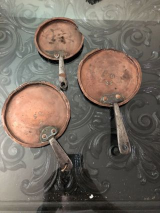 3 Antique French And Copper Pot Iron Handle Various Sizes Small