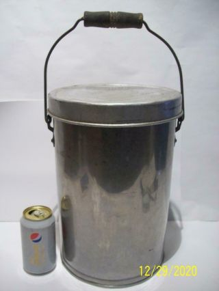 Antique Stainless Steel Shotgun / Milk/ Cream / Maple Syrup Can /pail W/lid