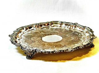 Exquisite Antique Handcrafted Silver Plated Copper Footed Small Tray England