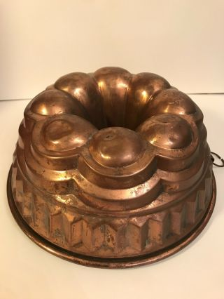 "Antique Victorian 10 "" Copper Bundt Pan,  Tin Lined,  Star Center,  Patina"