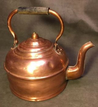 Antique Revere Large Copper Tea Kettle - Great Patina - Made In Usa