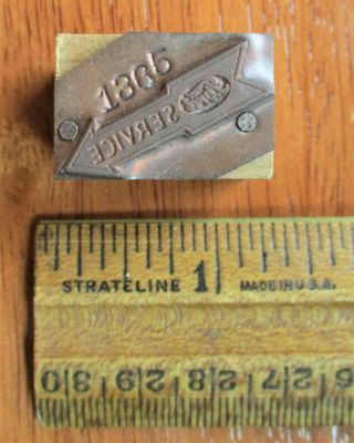 Rare 1930s 1940s Ford Service Automobile Advertising Logo Print Block
