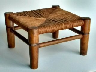 Ex Vtg Hardwood Foot Stool W/ Natural Woven Reed Rush Wicker Seat Cabin Rustic