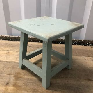 Small Vintage Aqua Blue Wooden Square Stool Plant Stand Stool Pedestal 9.  5x9.  5in