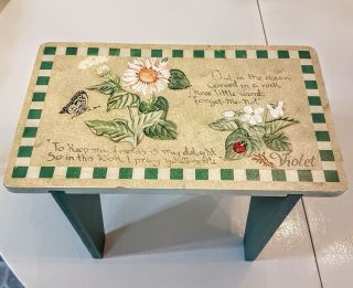 Wood Foot Stool Small Decorative Doll Plant Stand Painted Floral Farmhouse Decor