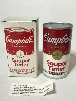 Vintage Campbell's Soup Kitchen Timer Wind - Up Nib