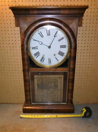 Old Vintage Late 1800s Ansonia Brass Copper Co App 1874 Weight Driven Wall Clock