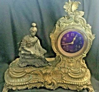 Antique 19th C Fancy Mantle Clock Bronze French Movement Fixable? Updated 2/21