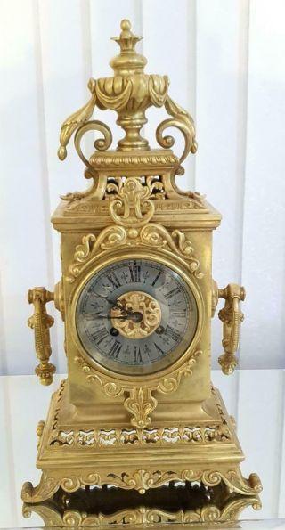 Antique French Mantle Clock Rare Bronze Cubed Shape 8 Day 1880