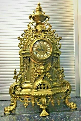 Antique French Louis Xv Style Ormolu Rococo Brass Imperial Clock Gilt Bronze