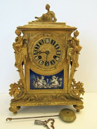 19thc French Bronze Figural Clock Signed Lenoir A Paris W Sevres Inserts