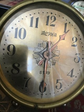 Alpha 8 Day Clock With Jtc In Diamond Logo Copper Time Hand Brass Front Nicelook