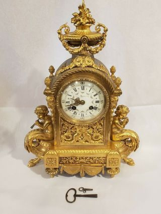 Bigelow,  Kennard & Co,  Japy Freres French Mid - 19th C.  Gilt Bronze Clock,  Cherubs