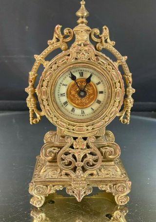 Miniature Clock - - Gold On Copper - - Porcelain Face - - Ornate - - Maker Unknown - - Buy It N