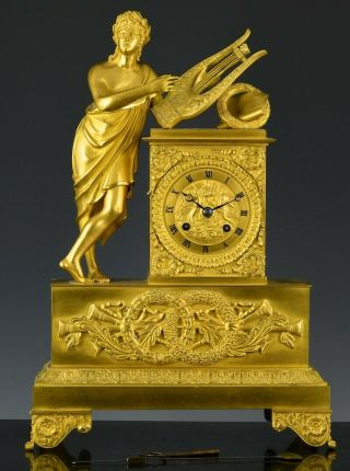 C1820 French Empire Ormolu Gilt Bronze Figural Mantle Table Clock 2