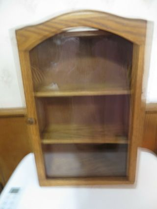 Small Tabletop Or Wall Curio Cabinet Light Wood,  15x10x 4 In