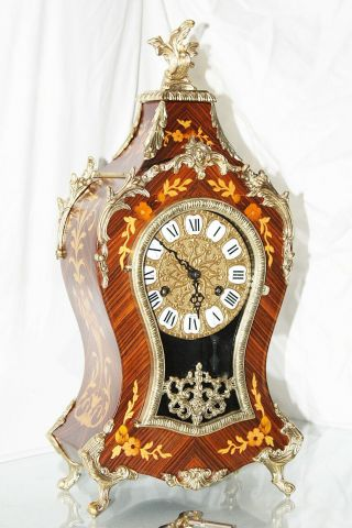Italian Hermle Cartel Mantle Clock - Inlay,  Bronze Ornaments - Stale Louis Xv Boulle