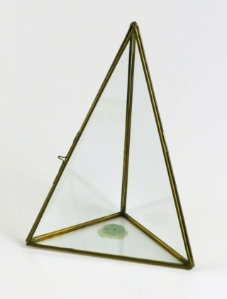 """Table Top Corner Display Case Brass & Glass Curio Cabinet,  3 Sided Pyramid,  9 """""""