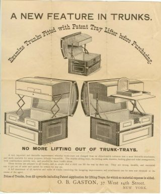 C1890s O B Gaston Steamer Trunks With Tray Lifter Ad Sheet
