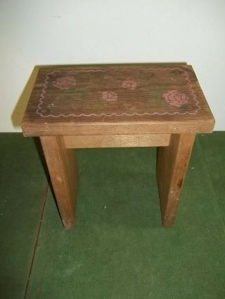 Vintage Small Wooden Step Stool Bench Embossed Roses 9 X 5.  5 X 10