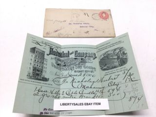 Antique 1900 Hornthal & Company 22nd St.  Ny City Funeral Coffin Casket Invoice