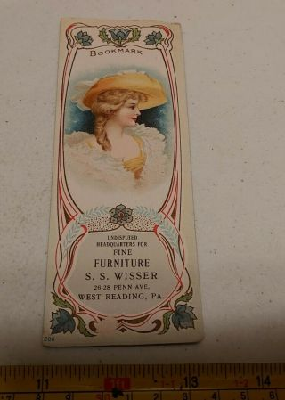 Vintage S.  S.  Wisser Fine Furniture West Reading Pa Woman Advertising Bookmark