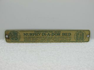 Murphy Bed Name Plate