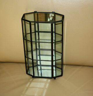 Glass And Metal Trimmed Curio Cabinet With Mirrored Back