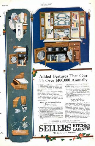 Sellers Kitchen Cabinets - Added Features - Kttchen Decor - 1920 Antique Ad