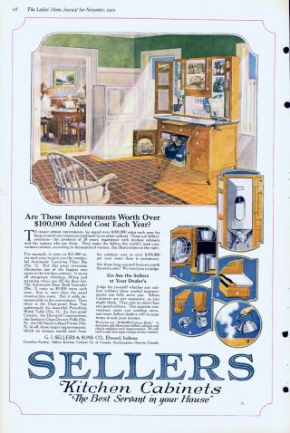 Sellers Kitchen Cabinets - Newest Improvements - 1919 Antique Ad