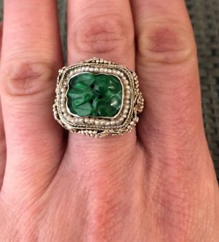 Antique Chinese Carved Jade Sterling Silver & Seed Pearl Ring