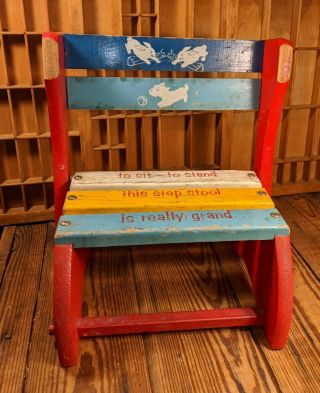 Vintage Wooden Childs Chair/step Stool - To Sit,  To Stand,  Is Really Grand