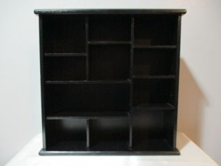 """Wooden Wall Mount Or Table Sitting Curio Cabinet 11 Openings 13 7/8 """" Tall (001)"""