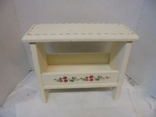 """12 """" Tall Small Wooden Stool Painted White Stencil Pattern Plant Stand Riser"""